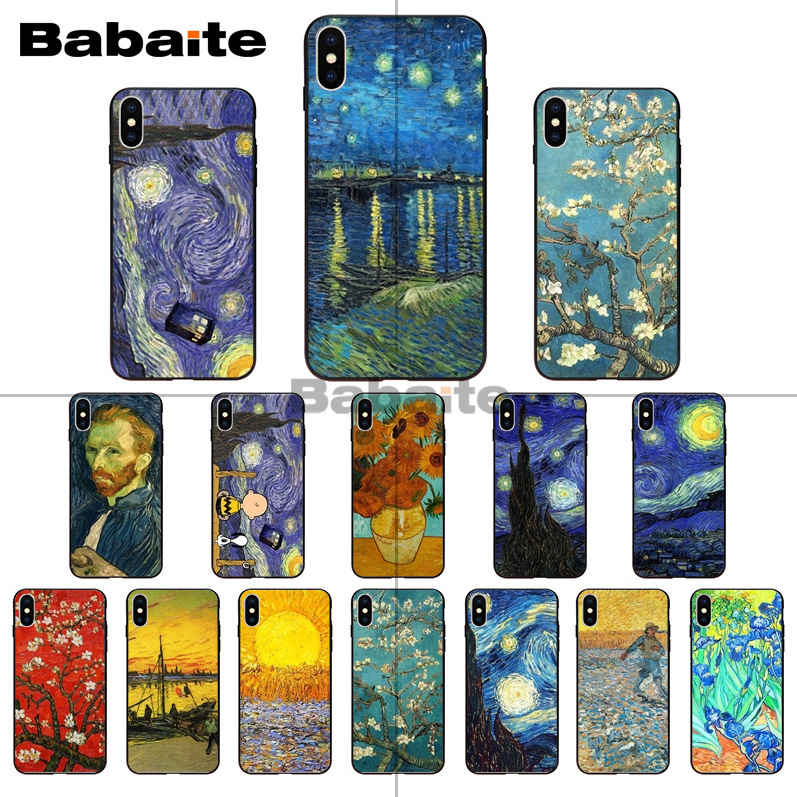 Van Gogh starry night painting Black TPU Soft silicone Phone Cover for iPhone X XS MAX 8 7 6S Plus 5S SE XR Cell phones Babaite