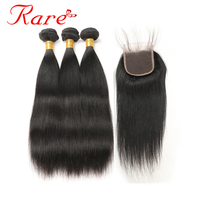 Rare Hair Pre Colored Brazilian Straight Human Hair Natural Color 3 Bundles With 4 4 Lace