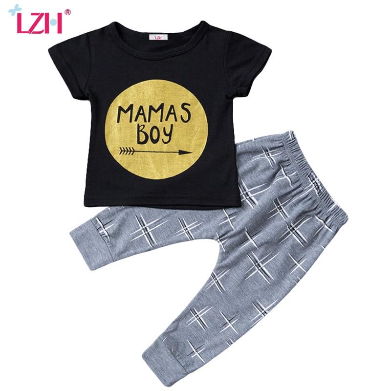 LZH Toddler Boys Clothing Sets 2017 Summer Kids Baby Boys Clothes Set Letter Print T-Shirt+Pant Boys Sport Suit Children Clothes