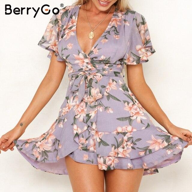 Michael Kors Wrap Dress BerryGo Boho dresses Elegant Wrap dress women Floral print short sleeve  chiffon mini summer dresses beach female vestidos dress