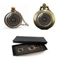 Bí ẩn mandala necklace thánh tâm geometry jewelry tinh thần phụ kiện màu đen phật giáo OM biểu tượng yoga đồng hồ bỏ túi với hộp miễn phí