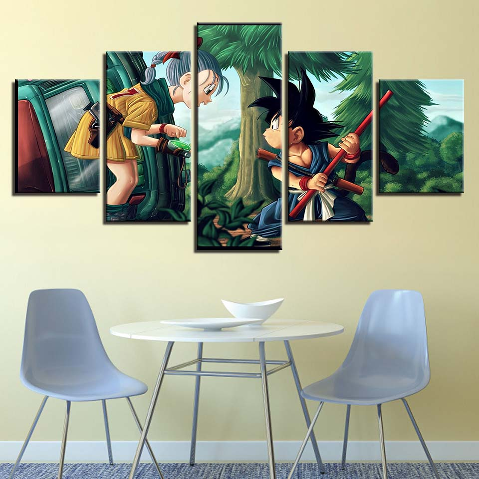 Canvas Pictures Home Decor Living Room Wall Art Framework 5 Pieces Dragon Ball Girl And Goku Paintings HD Prints Anime Posters 1