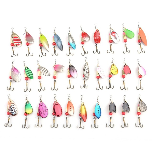 FDDL 30 PCS Multi Color Artificial Fishing Lures Spinner Bait Rapid Diving Action