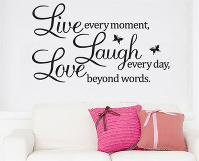 1 set High Quality Live Laugh Love Removable Vinyl Wall Sticker Home Art Decor Finished size 50*70cm for Living Room Gift