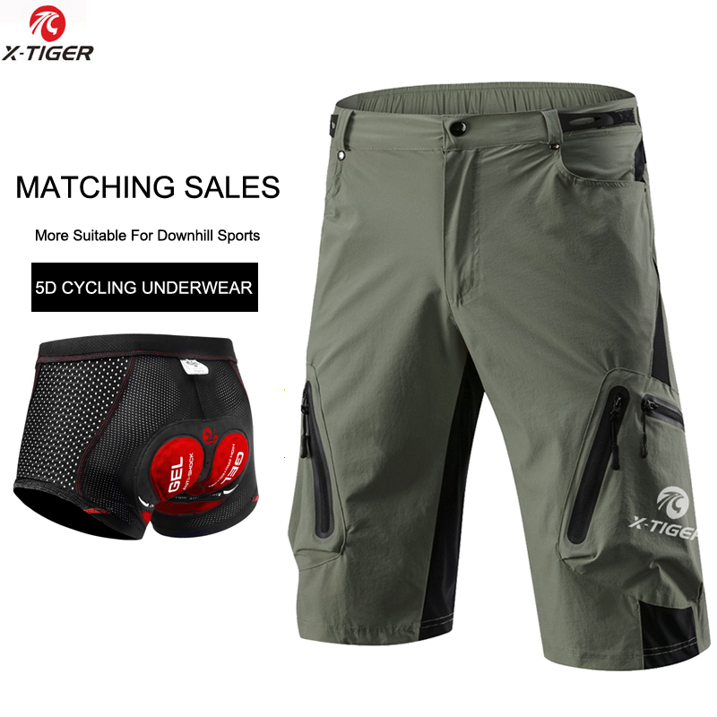 X-Tiger MTB Cycling Shorts With Upgrade 5D Gel Padded Cycling Underwear Breathable Downhill Mountain Bike Shorts For Men