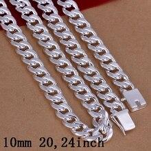 """De los hombres de 24 """"20"""" 60 cm 50 cm 10mm de plata estampado 925 oro cadena de la serpiente del collar 115g sólido envío libre Colar de Prata collar"""