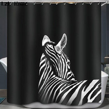 LzL Home 3D Tiger Zebra Waterproof Shower Curtain With Hock Bathroom Curtains High Quality Bath Bathing Sheer For Decor