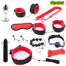 Women Men Porn BDSM Sex Nipple Clamp Whip Handcuffs Mouth Gag toy Mask Anal Plug Bdsm Bondage Toys for Adults Sexy Lingerie