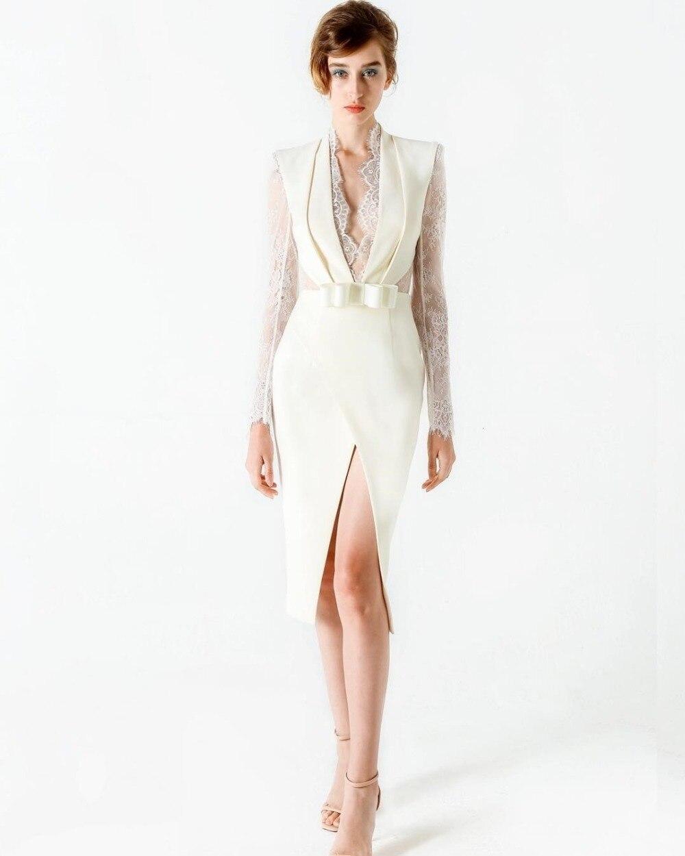 2018 nouvelle mode sexy femmes robe blanc dentelle fourche ouverte moulante rayonne élégant échantillon célébrité robe de soirée