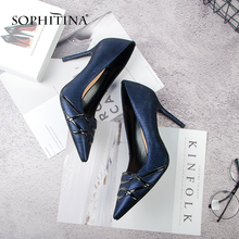 SOPHITINA 2019 Spring New High-quality Slip-on Pumps Sexy Pointed Toe Super High Heel Party Mature Fashion Female Shoes MC129