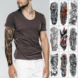 Большой татуировки на руку эскиз лев тигр водостойкая временная татуировка наклейка дикий яростное животное Мужчины полная птица Тотем