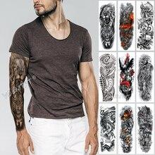 Duży rękaw rękaw tatuaż szkic lew tygrys wodoodporny tymczasowy tatuaż naklejki dzikie zacięta zwierząt mężczyzn pełny ptak Totem Tatto