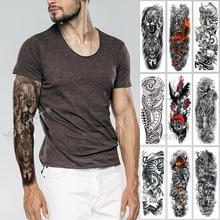Große Arm Sleeve Tattoo Skizze Lion Tiger Wasserdicht Temporäre Tatoo Aufkleber Wilde Fierce Tier Männer Voller Vogel Totem Tatto