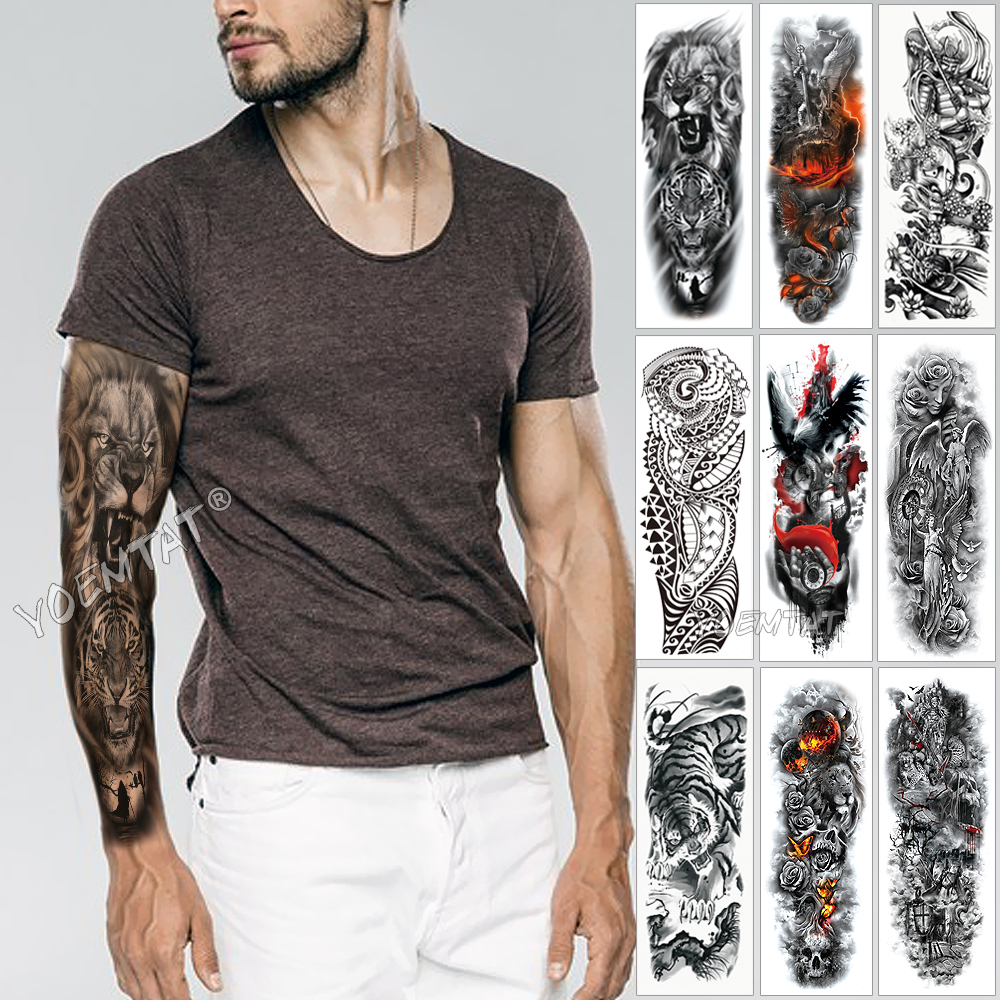 Large Arm Sleeve Tattoo Sketch Lion Tiger Waterproof Temporary Tatoo Sticker Wild Fierce Animal Men Full Bird Totem Tatto