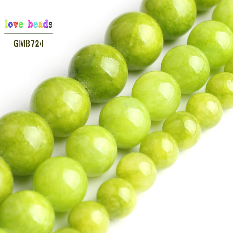 Pcs Gemstones Jewellery Making Malaysian Jade Round Beads 6mm Yellow//Green 62