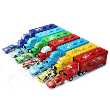 Samochody Disney Pixar 21 style Mack Truck + mały samochód McQueen 1 55 odlewane modele ze stopu metalu i plastikowe Modle samochody zabawkowe prezenty dla dzieci tanie i dobre opinie Inne Lightning McQueen 3 lat Ciężarówka Do Not Eat Model Mini