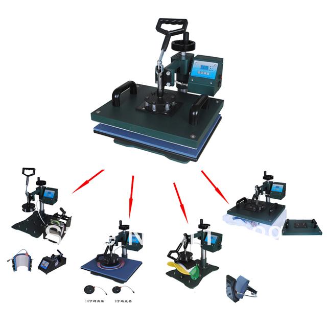 Barato 7 En 1 Combo de Calor Máquina de La Prensa, máquina de la sublimación puede ser utilizado en la camiseta, tazas, caso phon, etc, taza/camiseta máquina de impresión