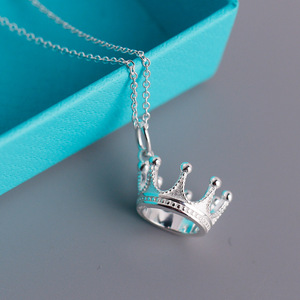 Image 2 - S925 sterling silver necklace, aristocratic crown styling pendant. Fashion Vintage Ladies Jewelry Gifts Free