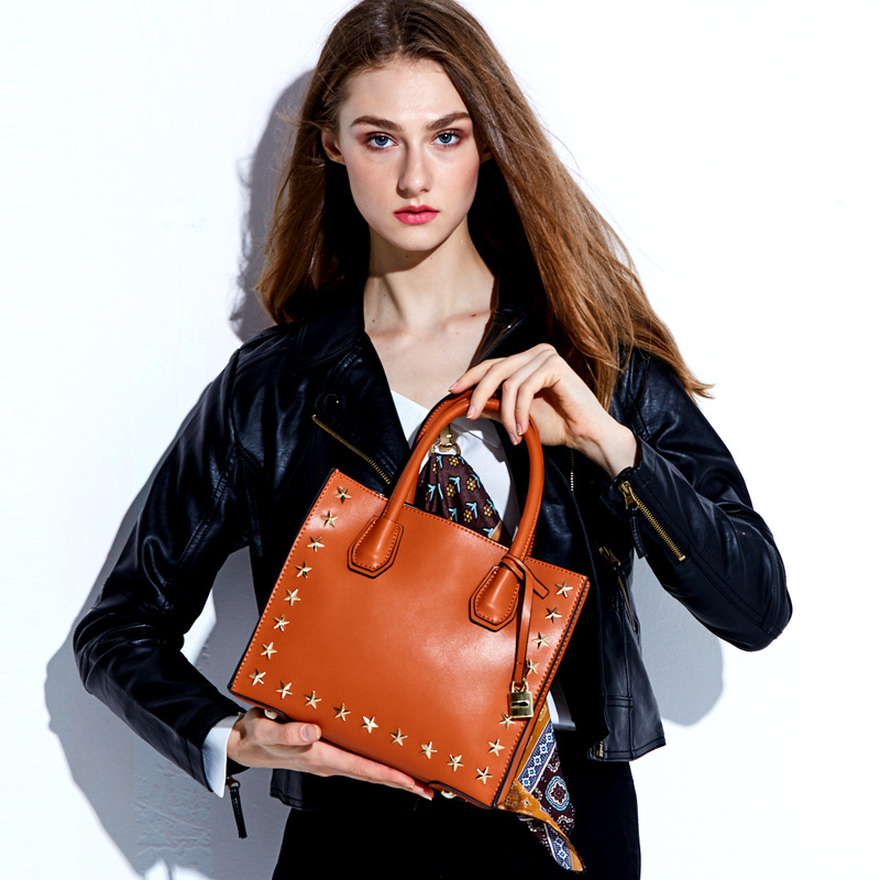 New Design Five-pointed Stars Women bag Genuine Leather Handbag Fashion Brand Rivet Female Tote Messenger Bags Lady Shoulder Bag vvmi 2016 new women handbag brand design rivet suede tassel bag chic classic vintage saddle bag single shoulder bag for female