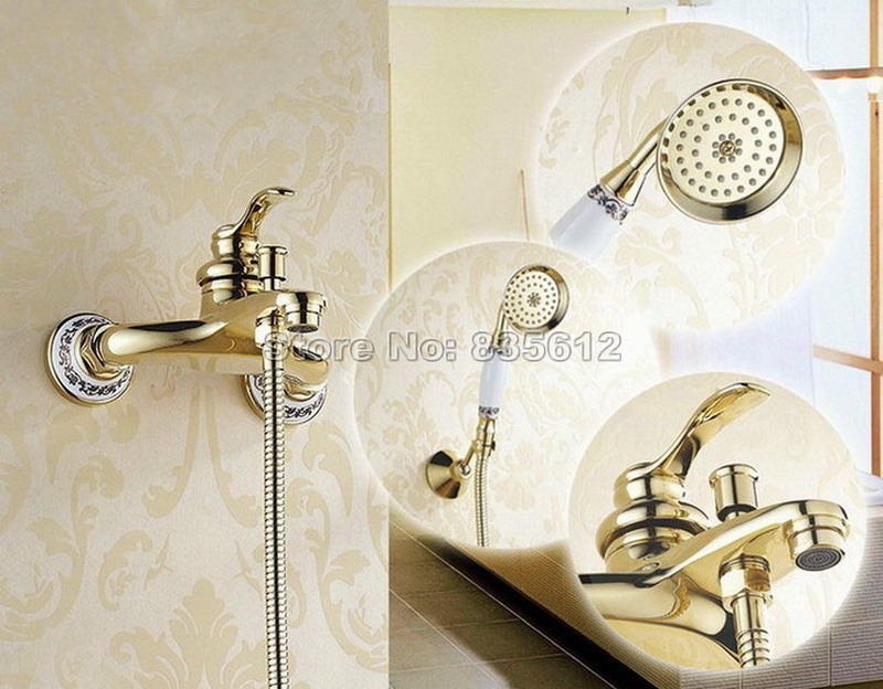 ᐊNew Gold Color Brass Wall Mounted Bathroom Bathtub Shower Faucet ...
