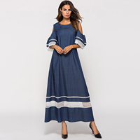 Muslim Women Strapless Long Robe Dress Arab Hollow Out off Shoulder Demin Blue Plus Size Full Party Prom Gowns Sarafan Dresses