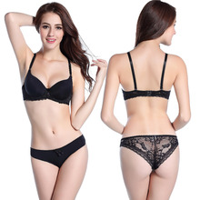 2015 New sexy bra brief panty set gathering cups push up A cups lace embroidery brand