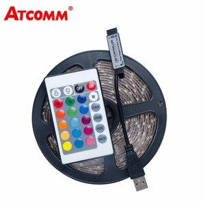Image 1 - 5 فولت USB RGB LED قطاع ضوء 0.5 متر 1 متر 2 متر 3m 4 متر 5 متر SMD 2835 60 المصابيح/متر LED مصباح لاصق ديود الشريط مع 24 مفتاح RGB تحكم