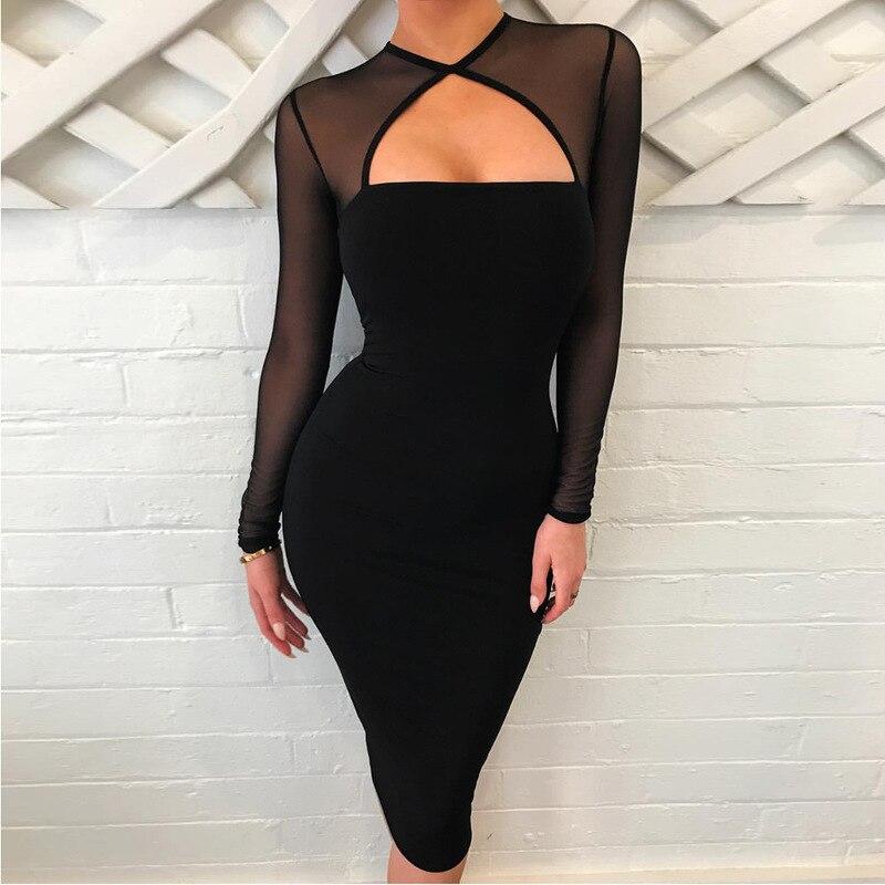 U-SWEAR Women's 2018 Spring Autumn Black Long-sleeved Sexy Perspective Mesh Stitching Fleece Dress Low-cut Knee-length Dress