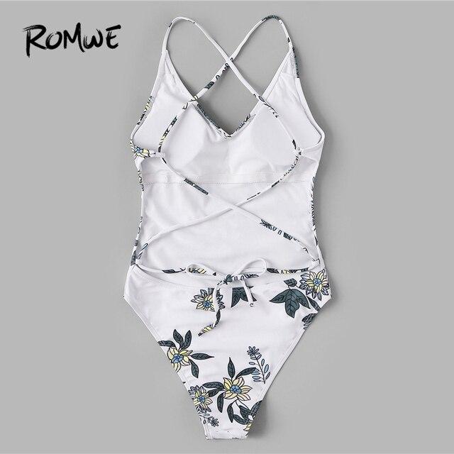 Romwe Спорт белый цветочный купальный костюм Criss Cross спинки одна деталь Купальник для женщин летние каникулы пляжная беспроводной купальный К... 1