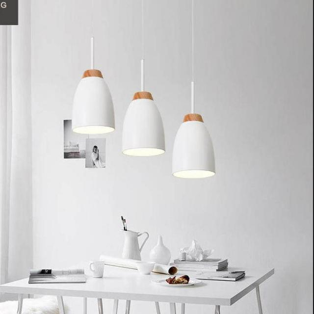 Italy pendant 3 heads iron wood lights for study room Kitchen Long suspension metal cover pendant Lights E27 home life lighting