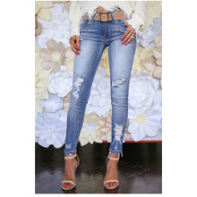 New hole female feet pants waist female jeans casual women's trousers Slim denim large size female pencil pants