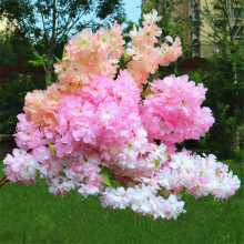 5pcs Fake Waterfall Cherry Blossom Flower Branch Begonia Sakura Tree Stem with Green Leaf for Artificial Decorative Flowers