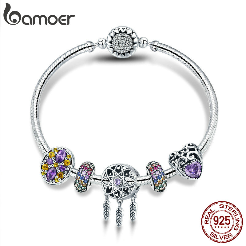 BAMOER 100 925 Sterling Silver Dream Catcher Holder Heart Enamel Spacer Bracelets Bangles for Women Silver