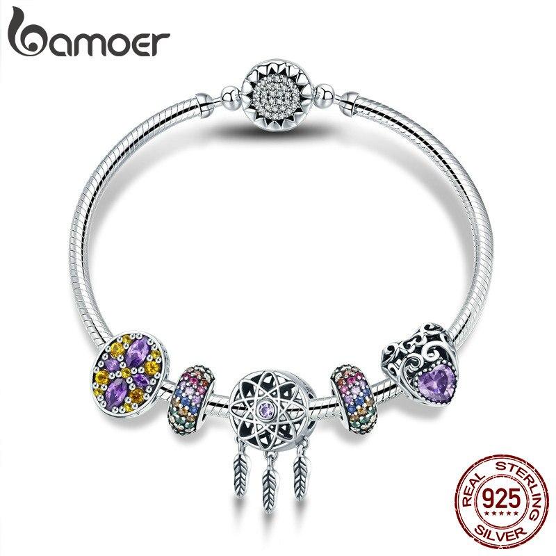 BAMOER 100% 925 серебро Dream Catcher держатель сердце Эмаль Spacer Браслеты и браслеты для Для женщин Серебряные ювелирные изделия SCB809