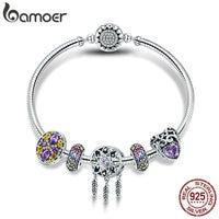 BAMOER 100% 925 Sterling Silver Dream Catcher Holder Heart Enamel Spacer Bracelets & Bangles for Women Silver Jewelry SCB809