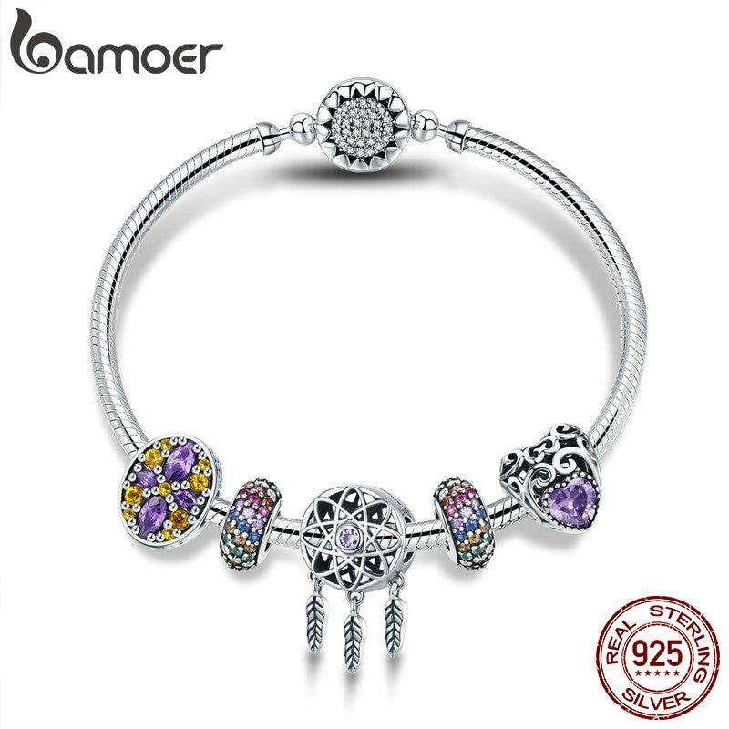 BAMOER 100% 925 argent Sterling capteur de rêves titulaire coeur émail entretoise Bracelets et Bracelets pour femmes bijoux en argent SCB809