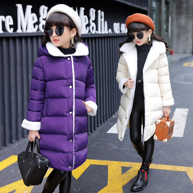 Girls clothing 2017 winter new style girls cotton jacket fashion children long thick casual cotton coat цена 2017