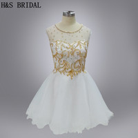 H&S BRIDAL Real Model Shinny stone gold sequins sexy short cocktail dress Sheer Neck beaded cocktails Dresses