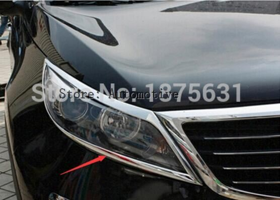 ABS Chrome Head Light Lamp Cover Trim For 2011 2014 for Kia Sportage