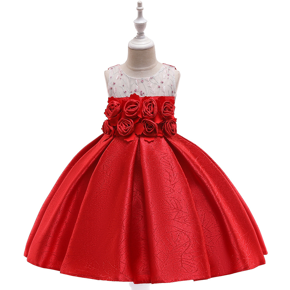 A-Line Red Communication   Dress   For Wedding Party Satin   Flowered   Pageant   Dresses   Birthday Gowns Princess Little   Girls     Dress