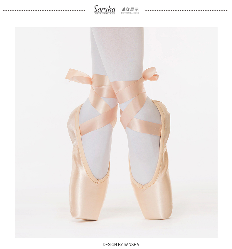 14fcf4cb7c31 Sansha Adult Satin Ballet Pointe Shoes With Hytrel Shank Dance Pointe Shoes  With Ribbon D Series D103