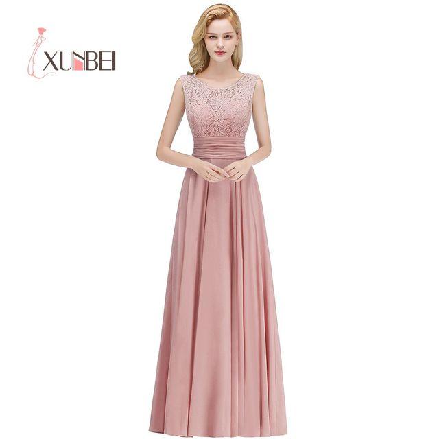 Vestido Dama De Honor Dusty Pink Lace Bridesmaid Dresses Long 2018 Y Back Chiffon Prom
