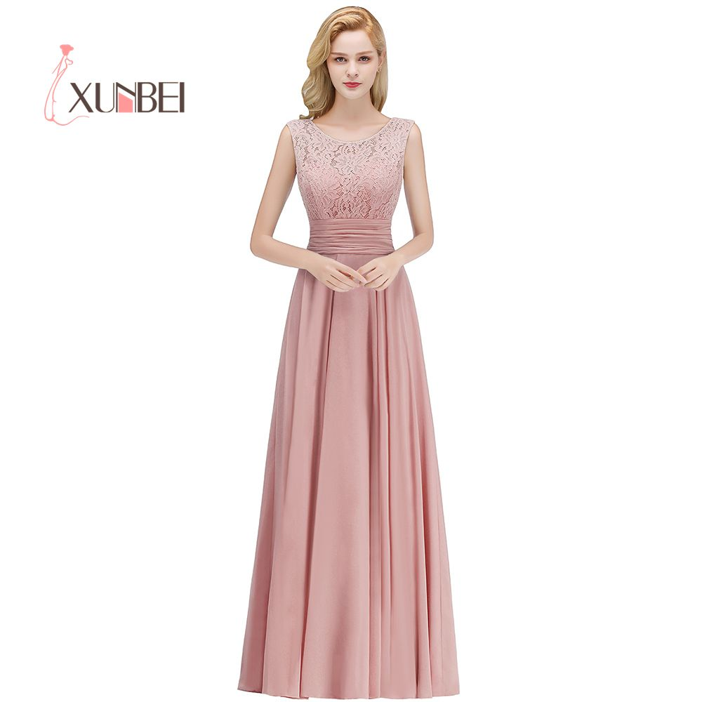 Vestido Dama De Honor Dusty Pink Lace Bridesmaid Dresses Long Sexy Back Chiffon Prom Dresses Wedding Party Gowns