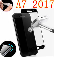 Full coverage Screen Protector Tempered Glass For samsung galaxy A7 2017 GLAS SKLO film foR Samsung SM A720 A720F A720F/DS case