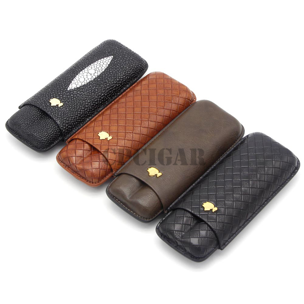 COHIBA Gadgets Leather Travel Cigar Case 2-3 Tubes Cigars Holder Mini Humidor with Gift Box