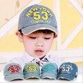 Crianças chapéus e bonés bonés de beisebol carta Jean Denim Cap meninos meninas Sun Caps para 2-5a