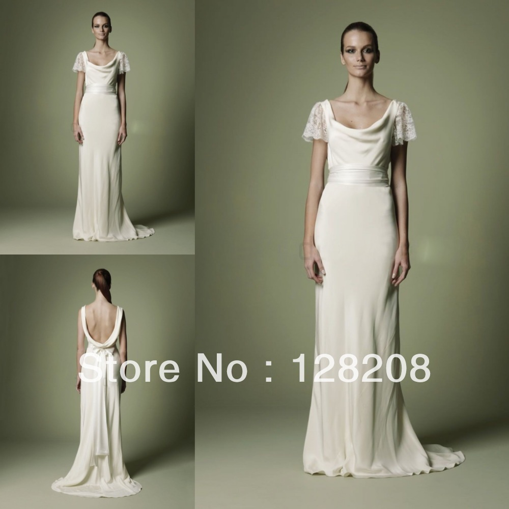 1940S Style Vintage Wedding Dress Backless Bow Sweep Train Bridal Dresses In From Weddings Events On Aliexpress