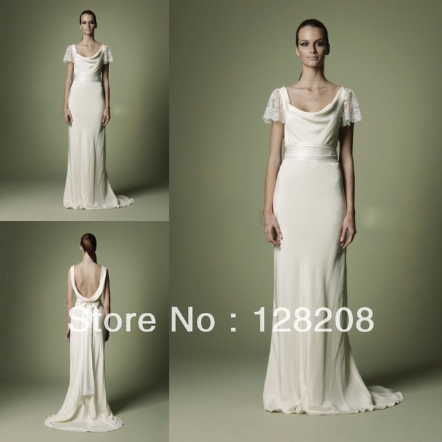 1940s Style Vintage Wedding Dress Backless Bow Sweep Train Bridal Dresses
