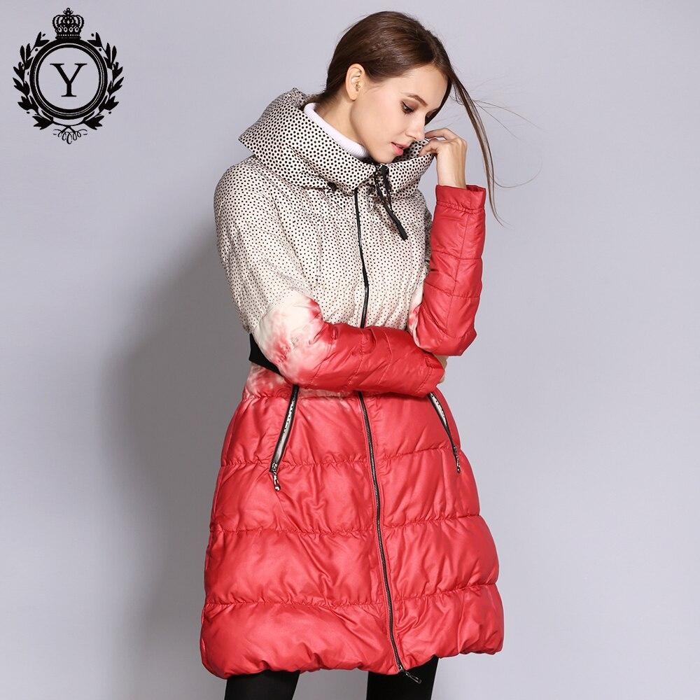 COUTUDI Hot Warm Down Jackets Women s Plus Size Winter Printed Puffer Jacket Long Female Parka