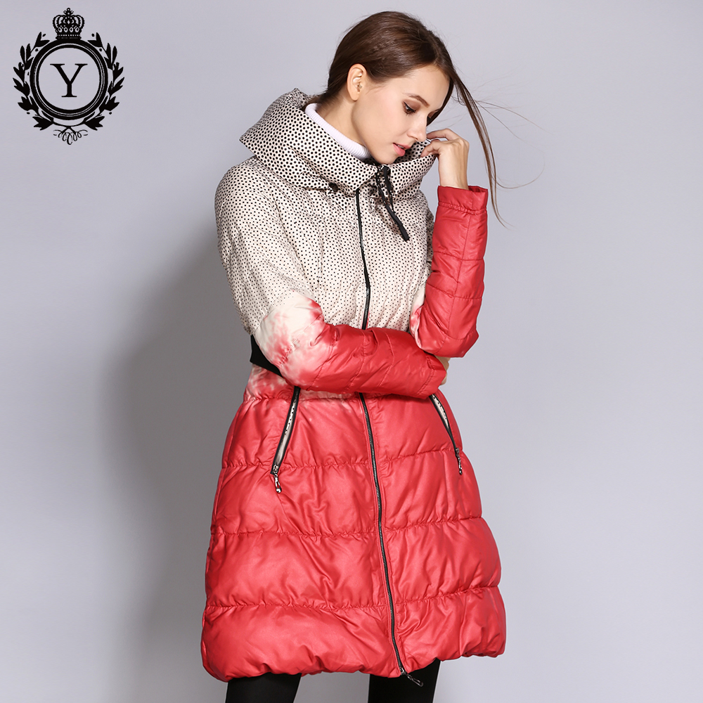 COUTUDI Hot Warm Down Jackets Women's Plus Size Winter Printed Puffer Jacket Long Female Parka And Coats Casaco Feminina Inverno